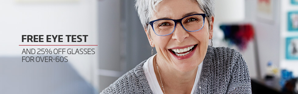 Free eye test and 25% off glasses for over-60s
