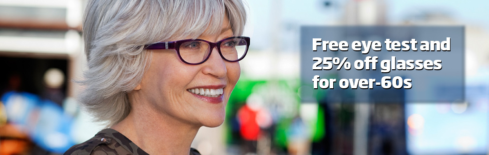 Free eye test and 25% off glasses for over-60s Banner